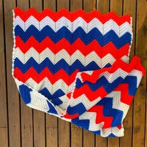 Vintage Crocheted Knit Chevron Throw Blanket